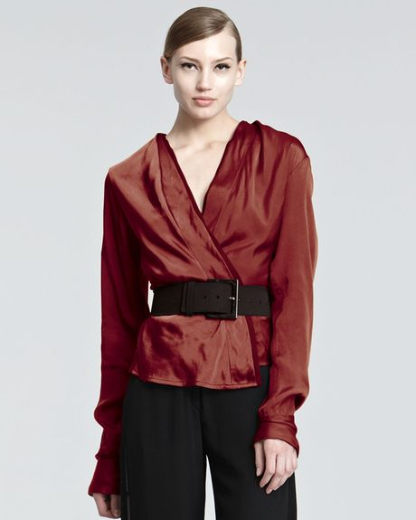 Donna Karan New York Satin Surplice Blouse in Red - Lyst