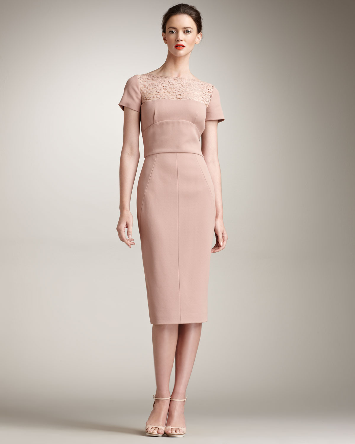 Lyst - Elie Saab Lace-yoke Fitted Dress in Pink