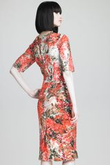 Erdem Sequined Floral Print Dress in Orange - Lyst