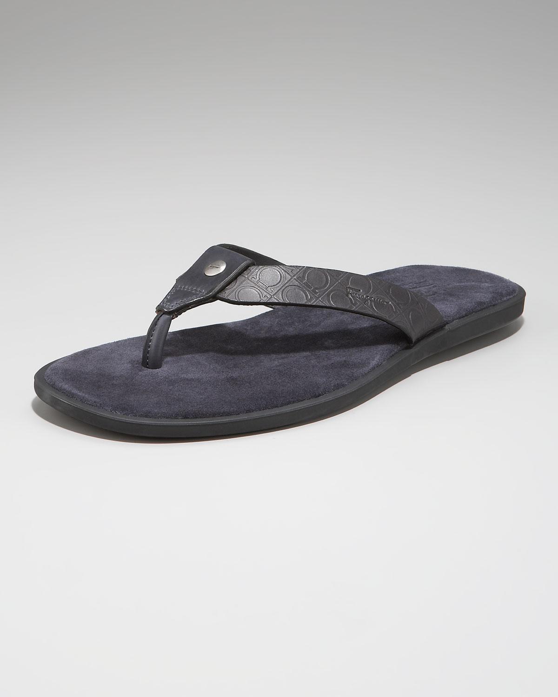 7bbbc43855eb09 Lyst - Ferragamo Dorval Gancini Thong Sandal in Gray for Men