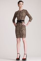 Giambattista Valli Belted Leopard Print Dress - Lyst