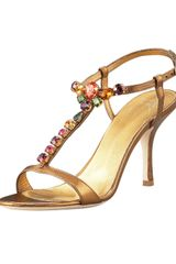 Giuseppe Zanotti Jeweled Metallic Leather Sandal - Lyst