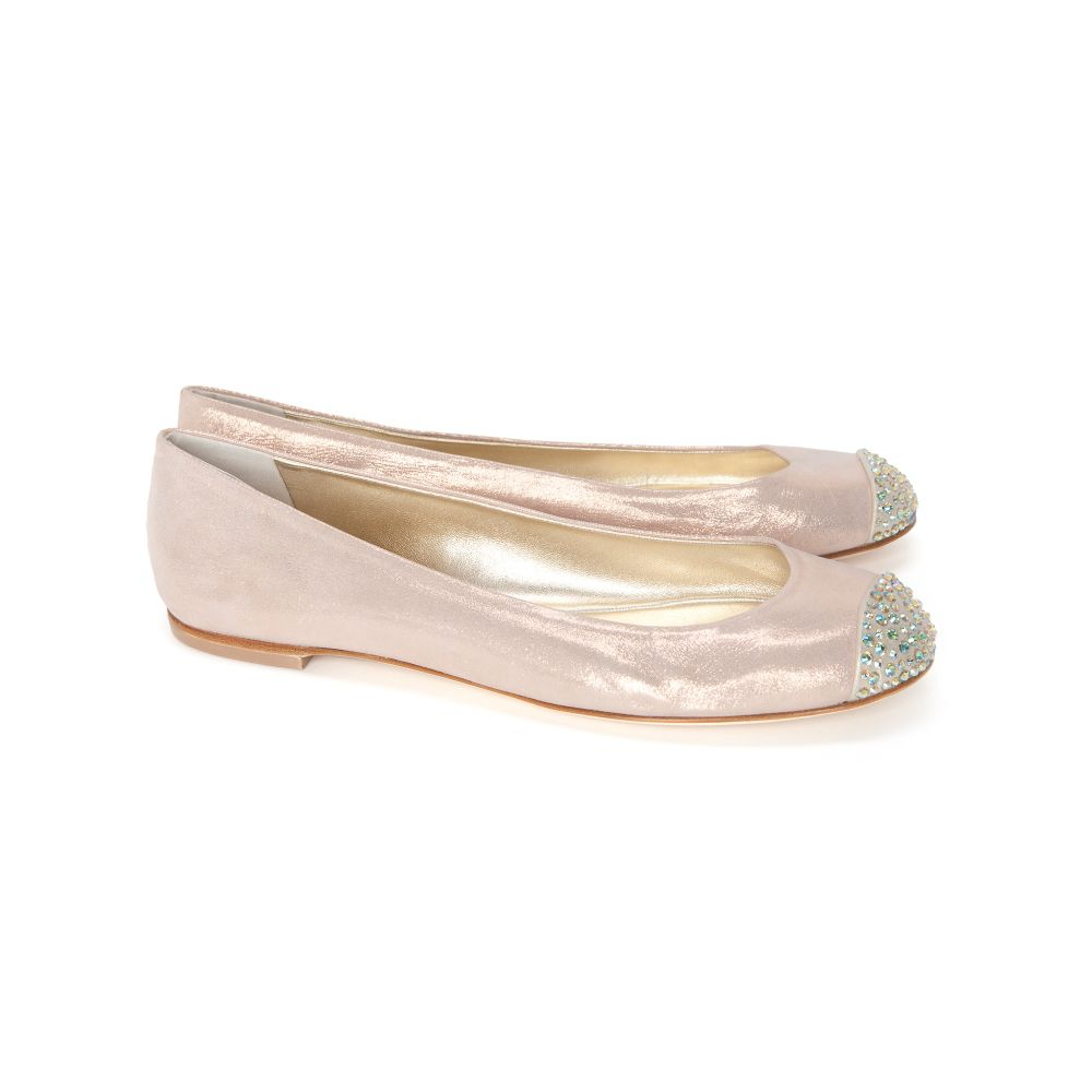 Lyst Giuseppe Zanotti Crystal Studded Ballet Flats In Pink