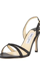 Jimmy Choo Glittered Fabric Crisscross Slingback - Lyst
