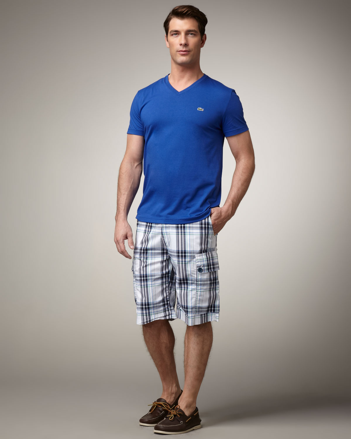 Lacoste Plaid Cargo Shorts in Blue for Men | Lyst