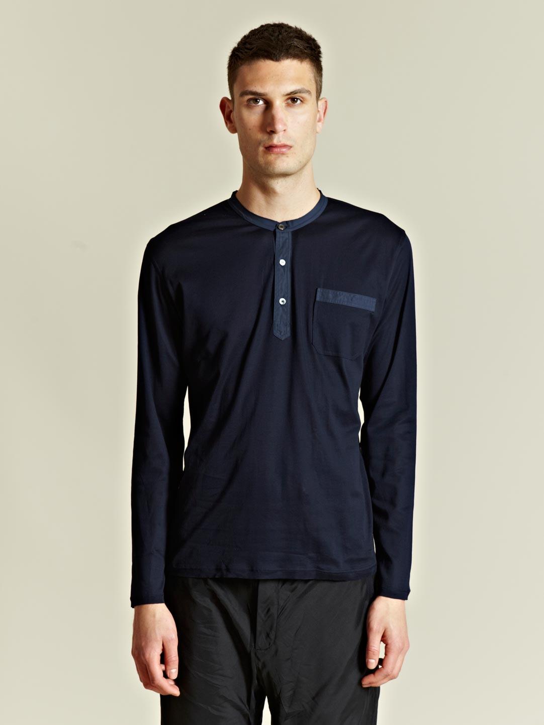 Lyst lanvin lanvin mens long sleeved henley top in blue for Best henley long sleeve shirts