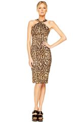 Michael Kors Jaguarprint Twisted Halter Dress - Lyst