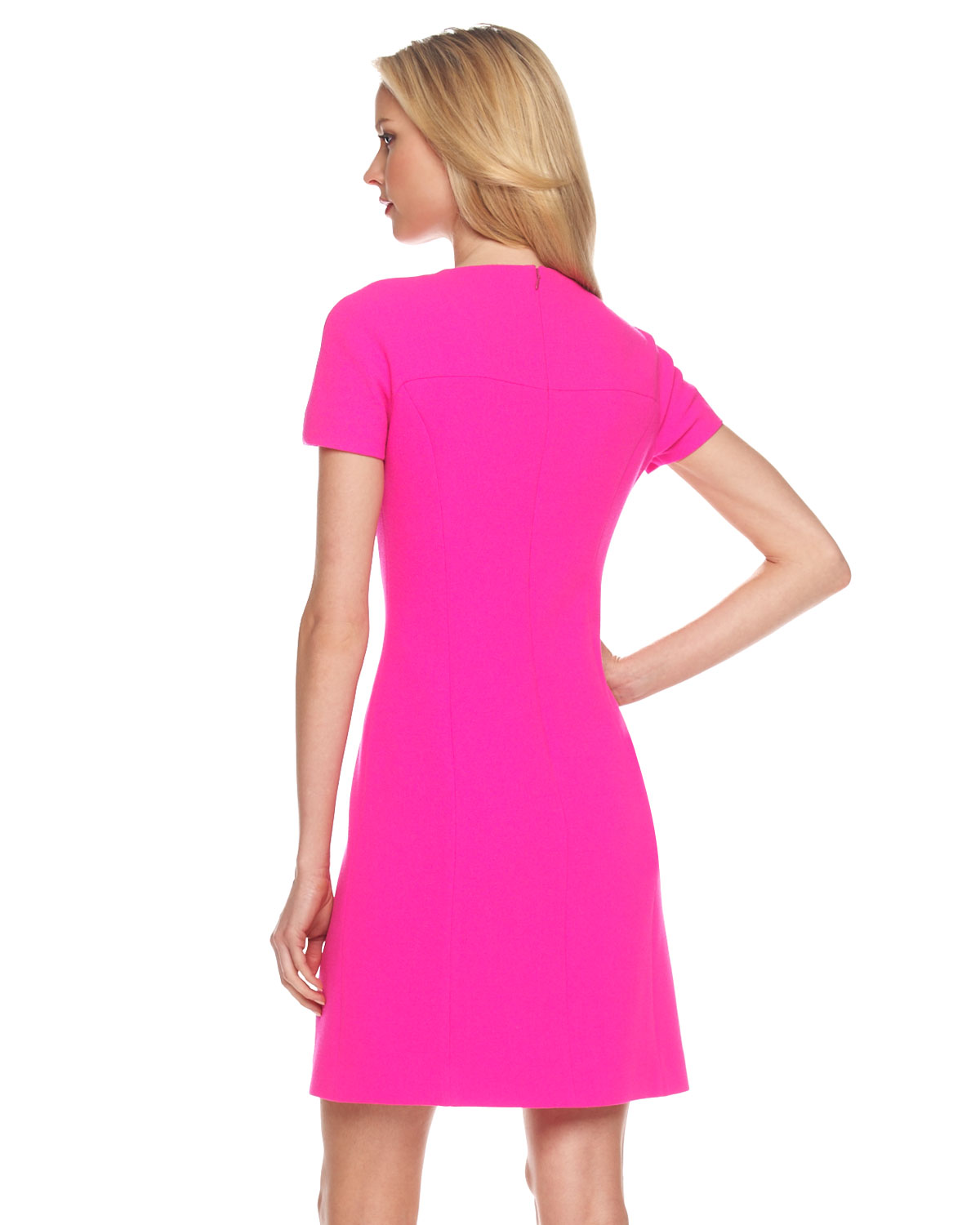Lyst Michael Kors Stretch Boucle Dress Neon In Pink