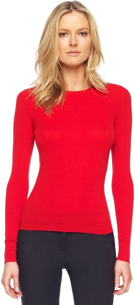 Michael Kors Feather-weight Cashmere Crewneck Sweater Crimson - Lyst