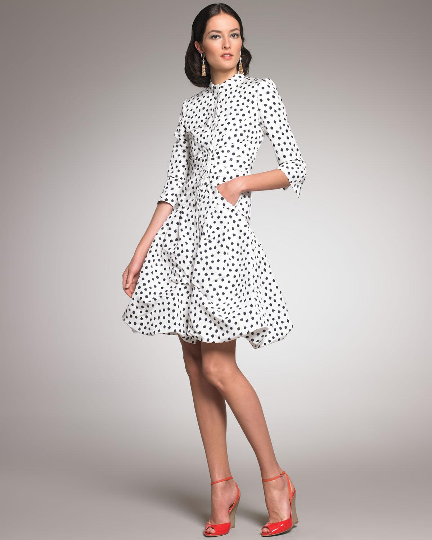 lyst oscar de la renta polka dot coat dress in white. Black Bedroom Furniture Sets. Home Design Ideas