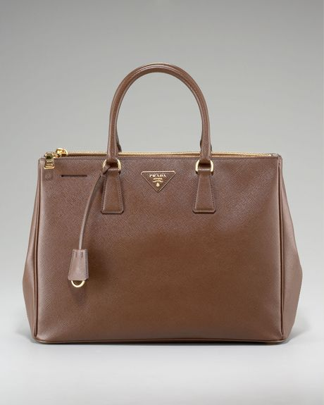 Prada Saffiano Lux Tote in Brown - Lyst