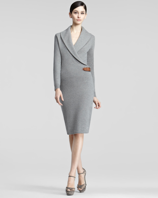 Ginia Cashmere Gowns Wrap Gown: Ralph Lauren Black Label Longsleeve Cashmere Dress