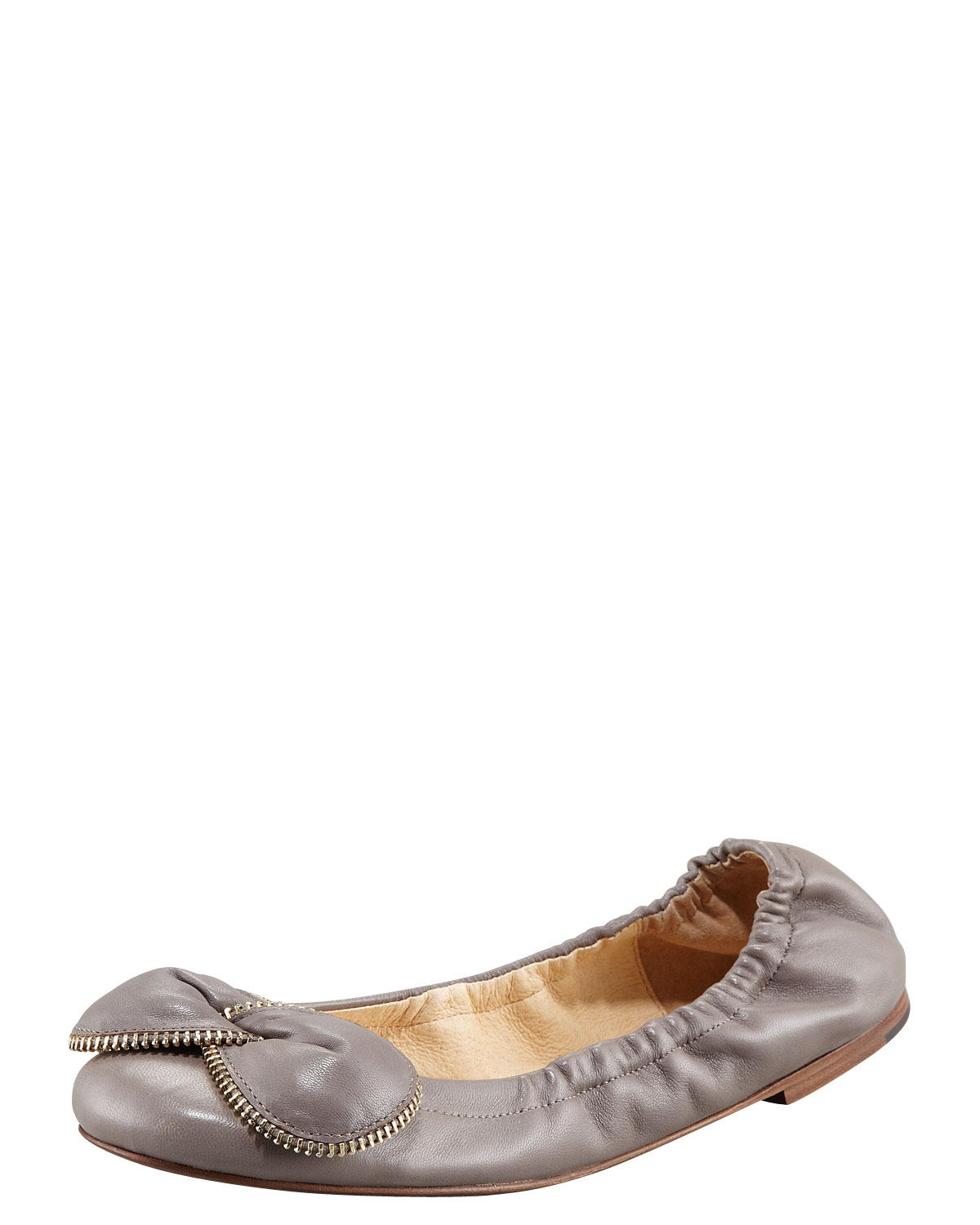 84d0da61c799 Lyst - See By Chloé Zipper Bow Ballerina Flat in Gray