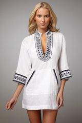 Tory Burch Print-trim Tunic - Lyst