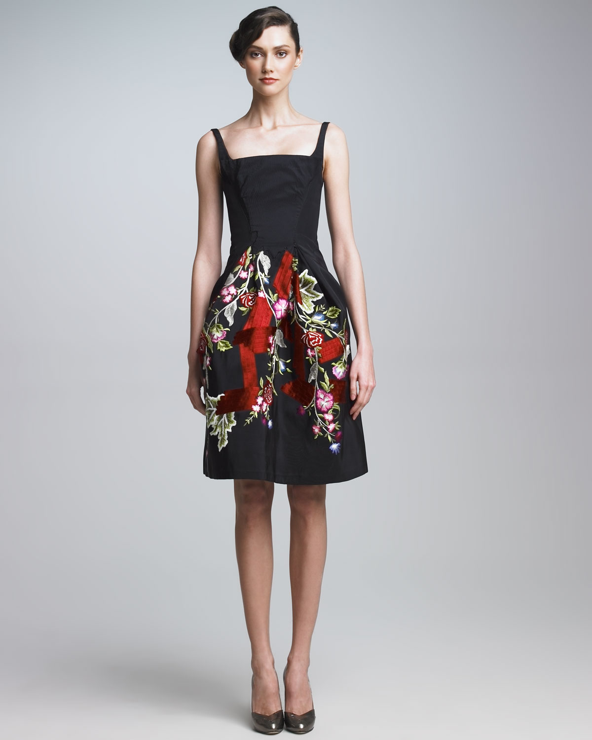 Zac Posen Embroidered Cocktail Dress In Black Lyst