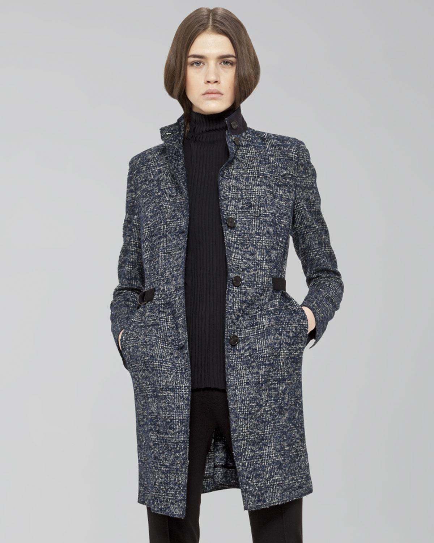 Akris punto Grosgrainwaist Tweed Coat in Blue | Lyst
