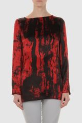 Balmain Long Sleeve Blouse in Red - Lyst