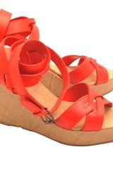 Castaner Quomo Leather Wedges in Red - Lyst