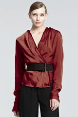 Donna Karan New York Satin Surplice Blouse - Lyst
