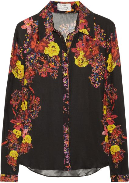 Erdem Cecilia Floralprint Silk Shirt in Black - Lyst