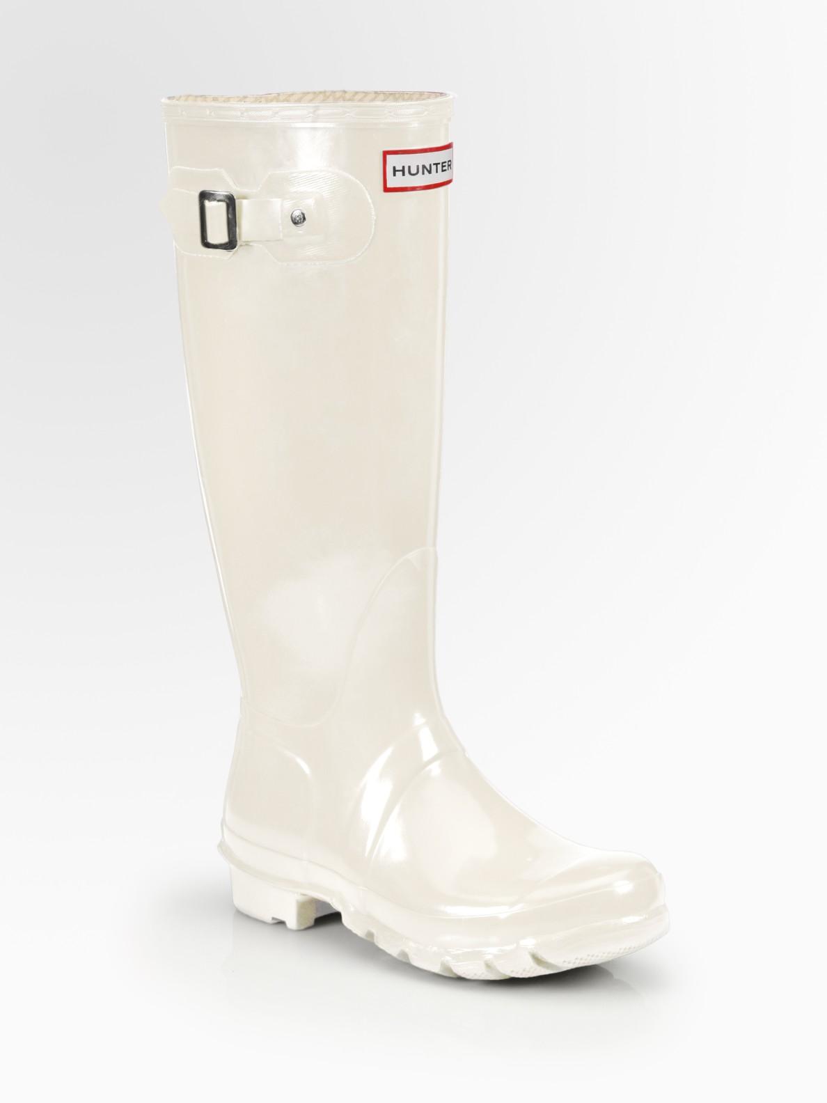 Lyst Hunter Glossfinish Original Rain Boots In White