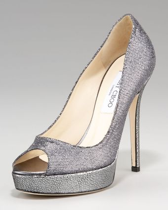 Jimmy Choo Crown Glittered Peeptoe Platform Pump - Lyst