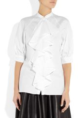 Mcq By Alexander Mcqueen Ruffled Cotton Blouse in White - Lyst