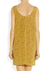 Versace Printed Silk Shift Dress in Yellow (multicolored) - Lyst