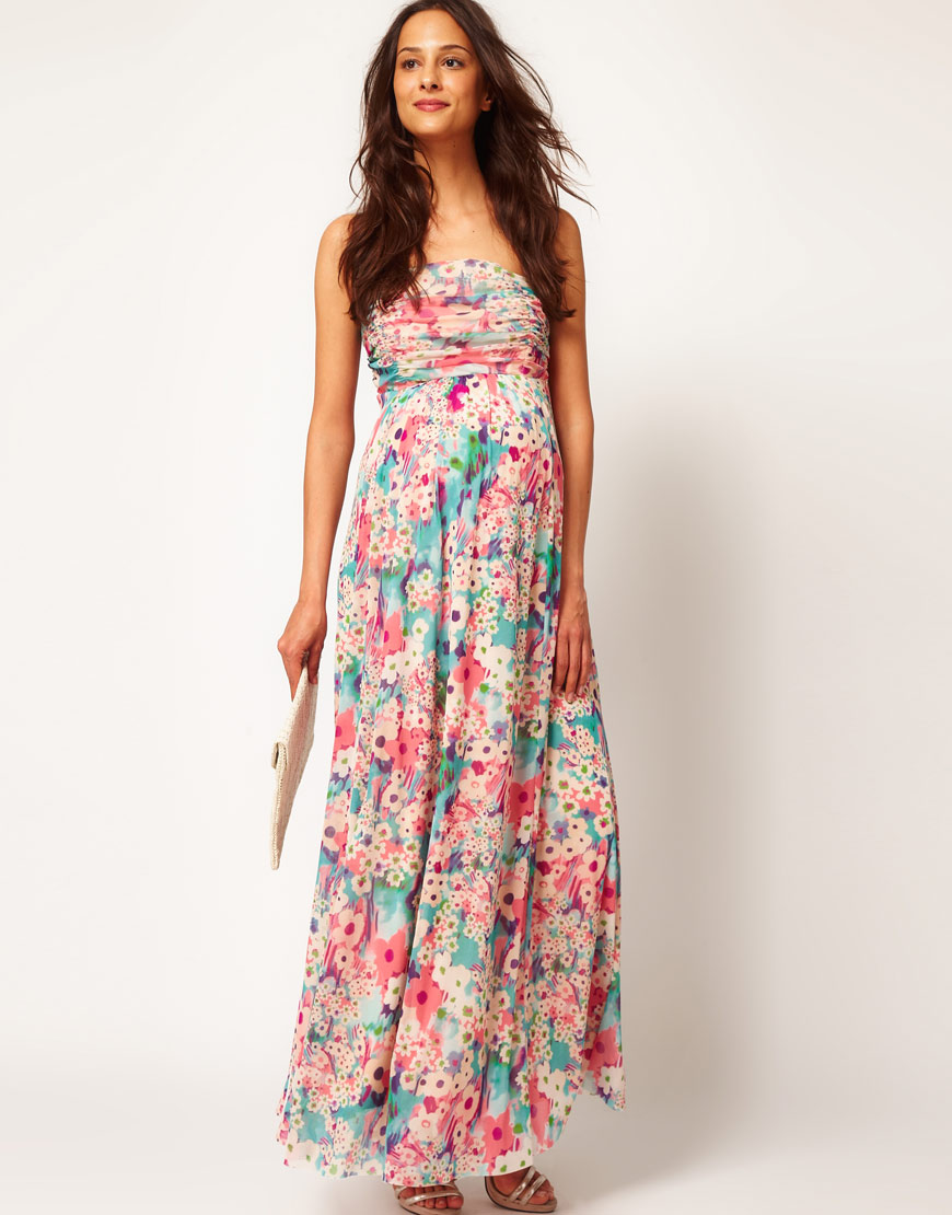 a0c901d3d55 Lyst - ASOS Asos Maternity Exclusive Maxi Dress in Floral in Pink