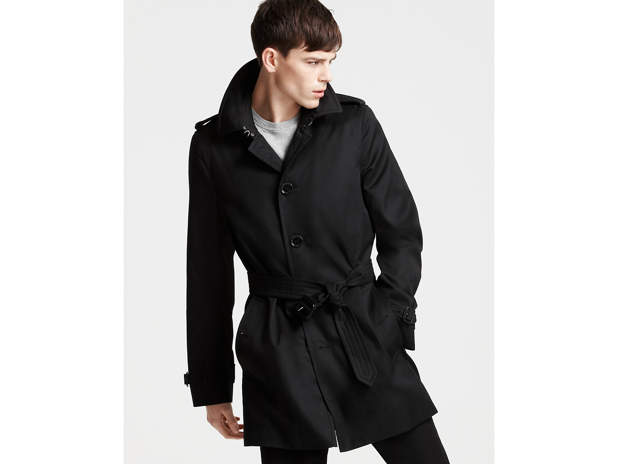 6a53e2d66b8f Burberry London Single Breasted Trench Coat in Black for Men