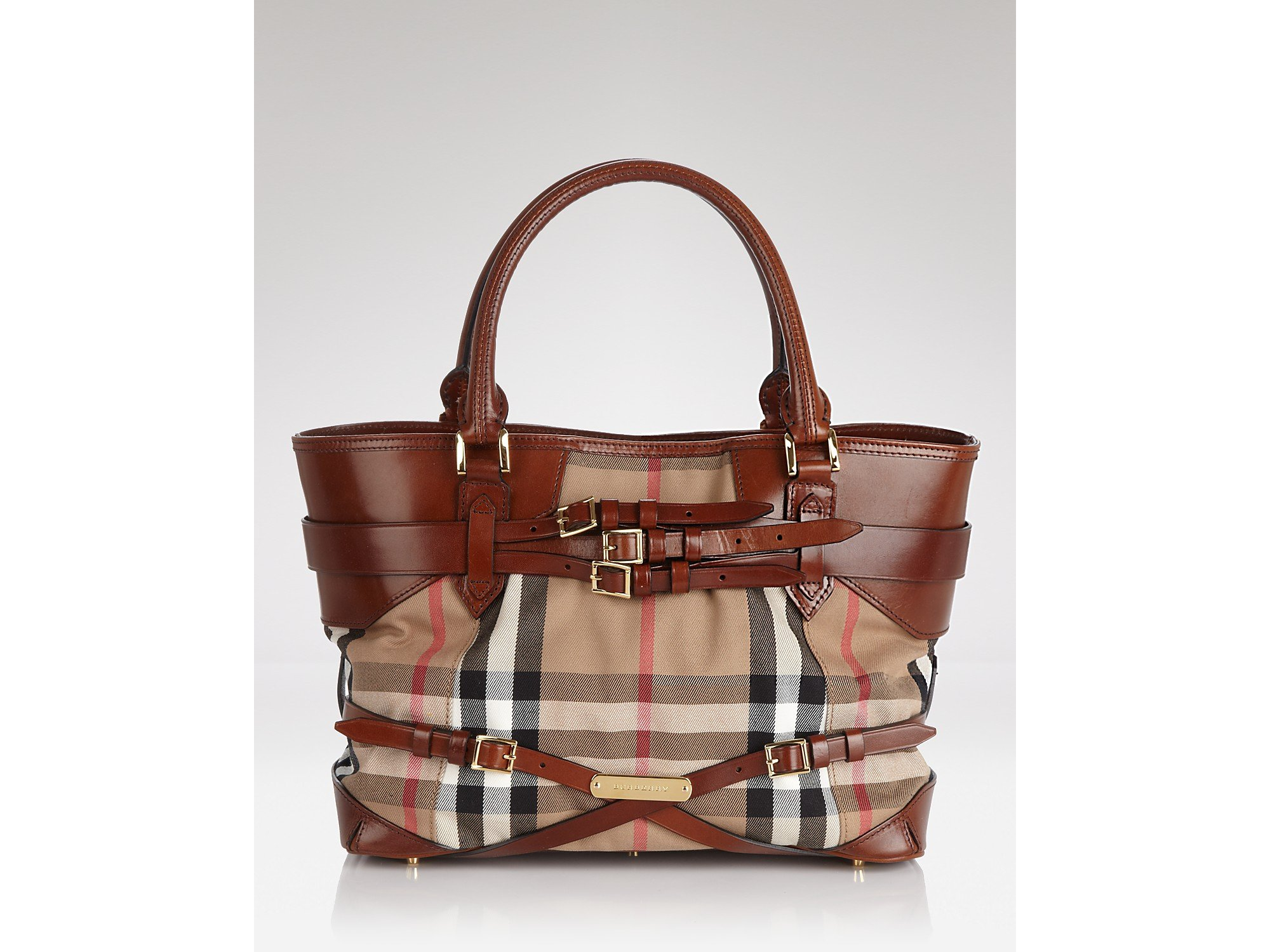 d7baf2e3b267 Lyst - Burberry Tote Bridle House Check Medium Lynher in Brown