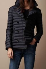 Burberry Brit Leather Trim Quilted Pea Coat - Lyst