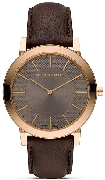 Burberry Slim Taupe Watch with Taupe Leather Strap 40 Mm - Lyst