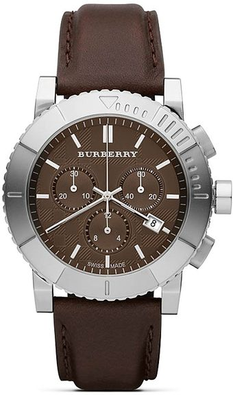 Burberry Stainless Steel Round Faced Watch with Leather Strap 42 Mm - Lyst