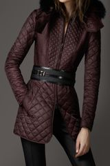 Burberry Multi Quilted Fur Collar Coat - Lyst