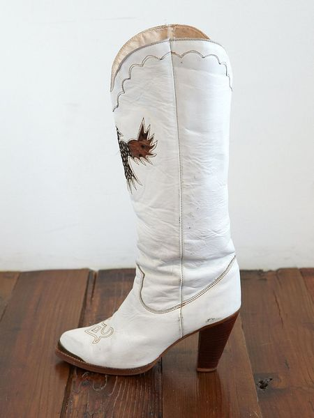 Free People Vintage White Leather Cowboy Boots In White Lyst