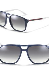Gucci Double Bridge Acetate Aviator Sunglasses - Lyst