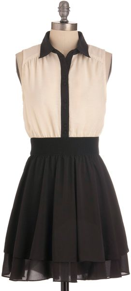 Modcloth Think Contrast Dress in Black (ivory) - Lyst