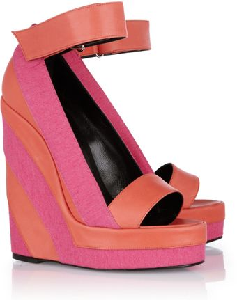 Pierre Hardy Canvas and Leather Platform Wedge Sandals - Lyst