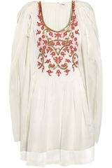 Temperley London Francisca Embroidered Chiffon Kaftan in White - Lyst