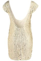 Topshop Coin Scoop Back Dress By Dress Up Topshop in Gold (cream) - Lyst