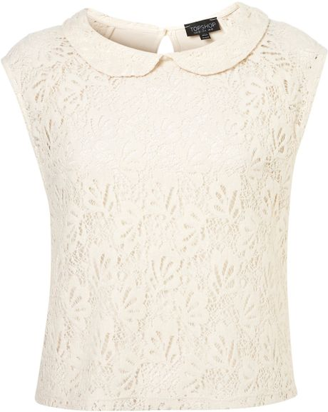 Topshop Peterpan Collar Lace Shell Top in White (cream) - Lyst