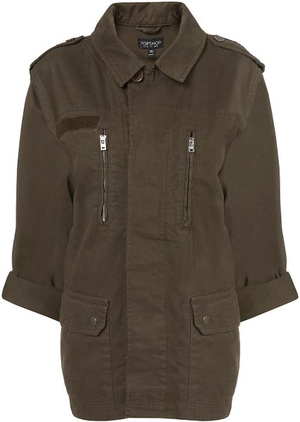Topshop Khaki Army Jacket in Brown (khaki) - Lyst