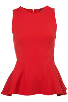 Topshop Panel Peplum Shell Top - Lyst