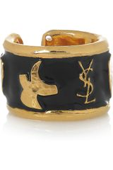 Saint Laurent Ycons Enameled Goldplated Ring - Lyst