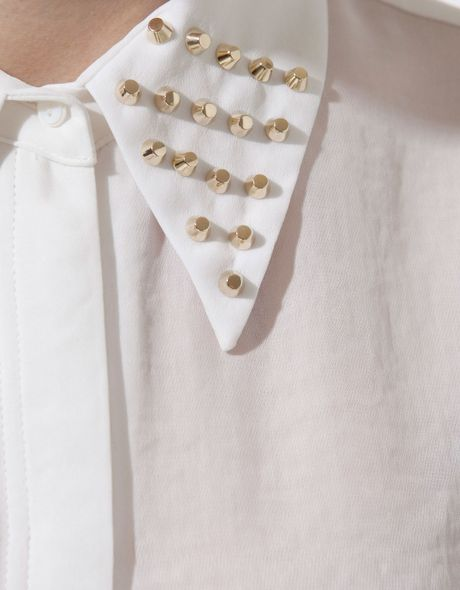 Zara White Blouse With Studded Collar 116
