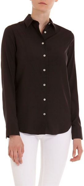 Barneys New York Button Front Silk Shirt - Lyst