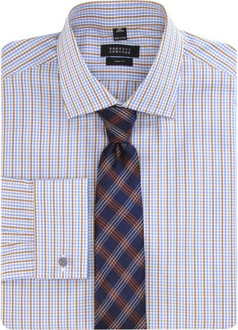 Barneys New York Plaid Dress Shirt - Lyst