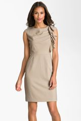 Calvin Klein Side Ruffle Woven Sheath Dress in Beige (khaki) - Lyst