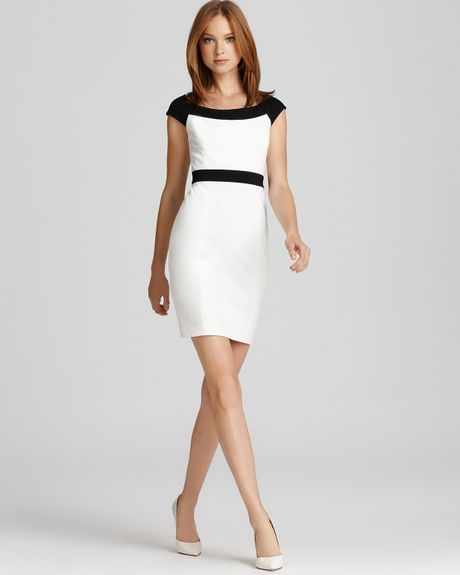 Cynthia Steffe Color Block Dress Madge Cap Sleeve Ponte in White (light cream rich black) - Lyst